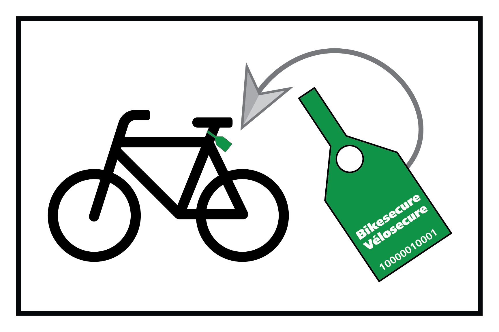 A diagram showing where to place Bikesecure tags onto a bike.