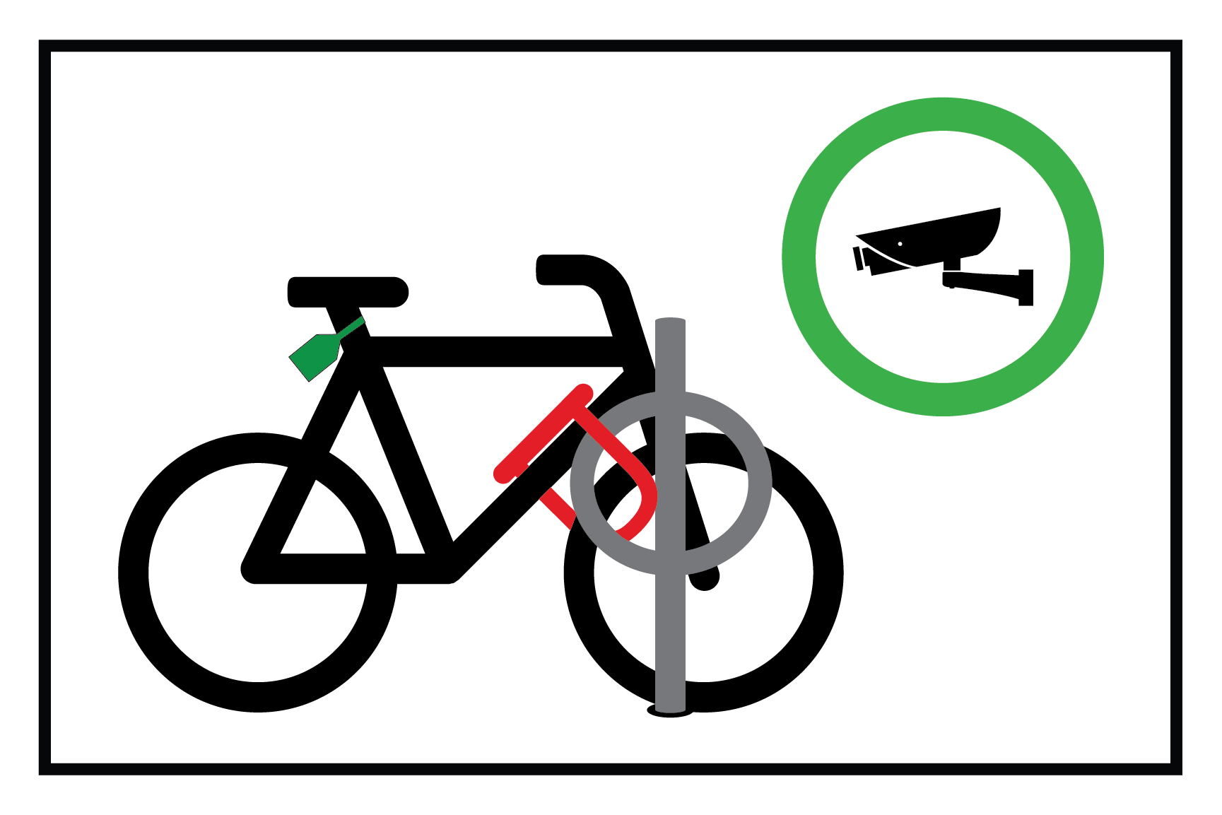 A diagram showing how to securely lock a bike inside a Bikesecure shelter.