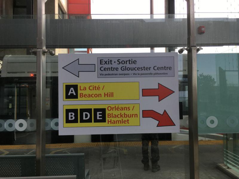 Wayfinding signage at Blair Station