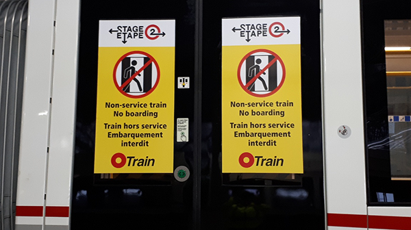 "Photo of test trans with ""out of service"" signage."