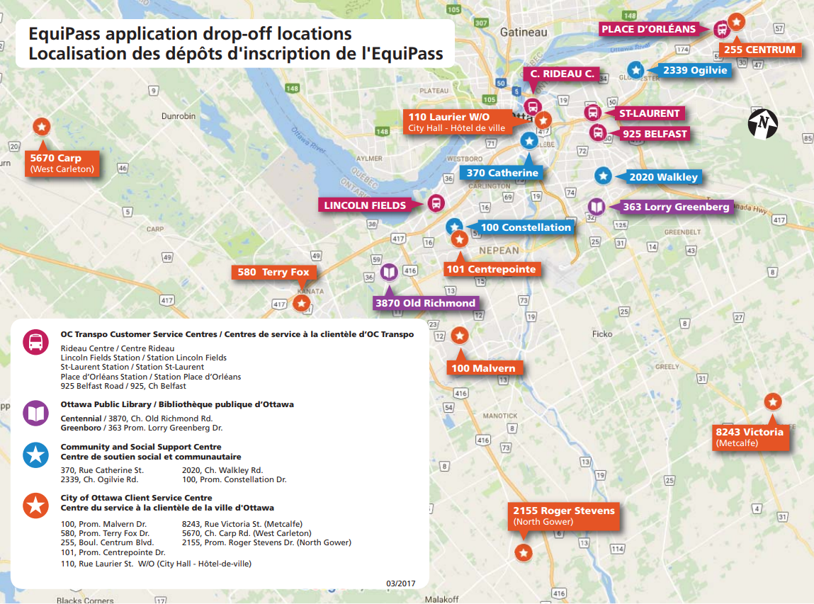 Map of EquiPass application drop-off locations