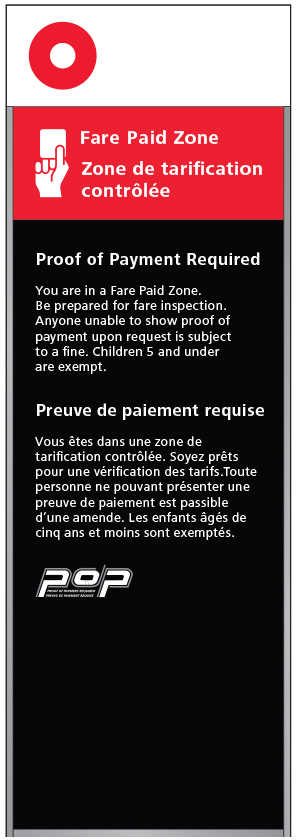 Fare-paid zone sign