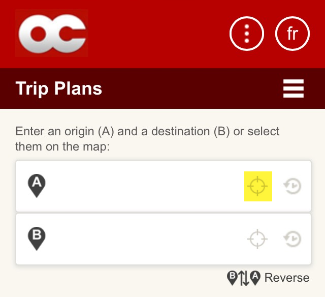 Screen cap: Use your GPS location as origin or destination