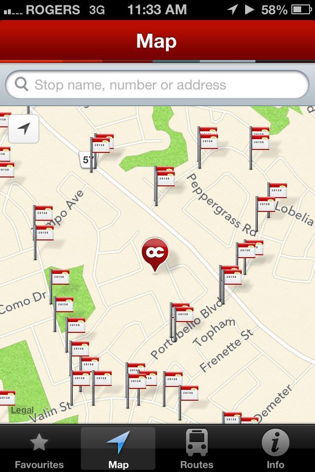 OC Transpo App - Screenshot 1
