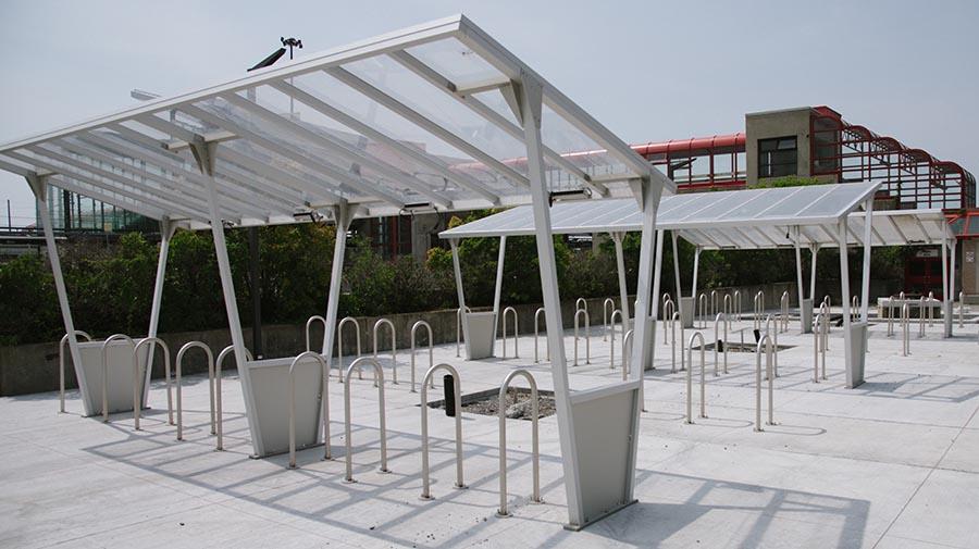 Bike shelters at Blair Station.