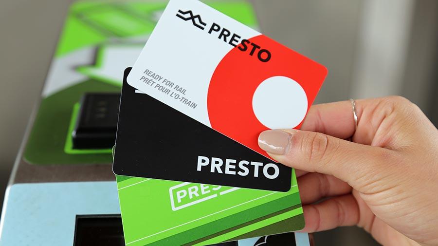 Three Presto cards accepted by fare gates.
