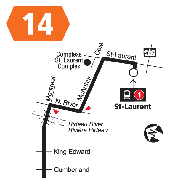 Route 14 map effective December 20, 2020.