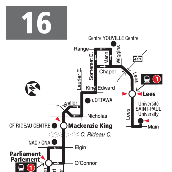 Route 16 map effective December 20, 2020.
