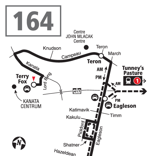 Route 164 map effective December 20, 2020.
