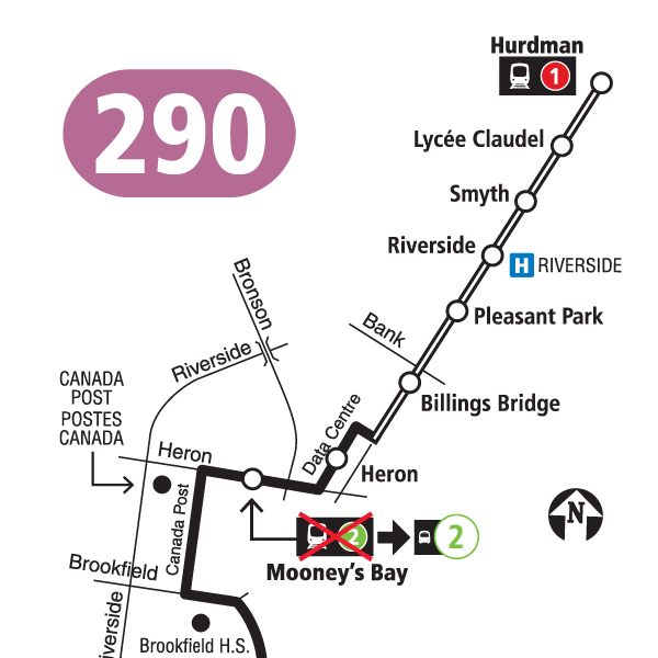 Route 290 map effective April 18, 2021.