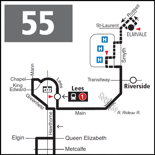 Route 55 map effective June 28, 2020.