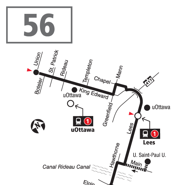 Route 56 map effective December 20, 2020.