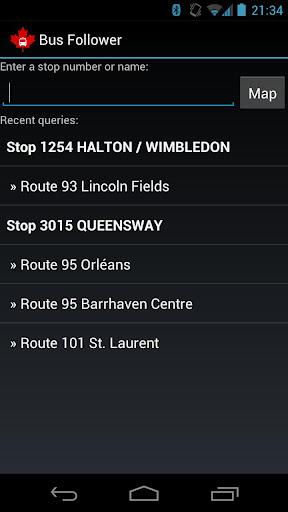 Un outil de suivi des autobus à Ottawa - Screenshot 1