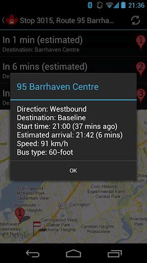 Un outil de suivi des autobus à Ottawa - Screenshot 3