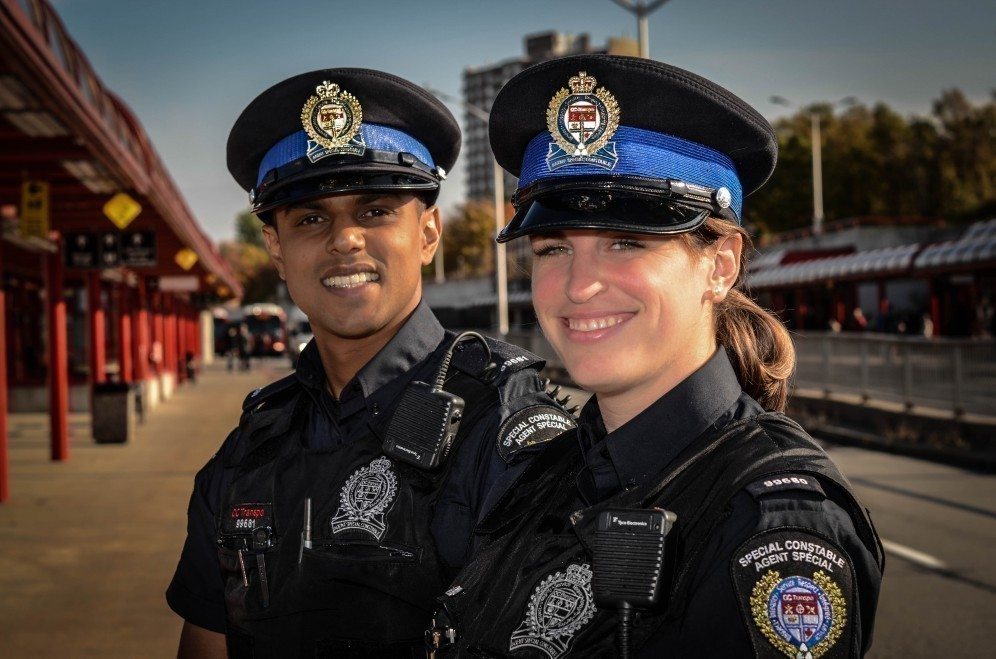 Transit Special Constables at a station.