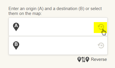 Use a location in your history as origin or destination