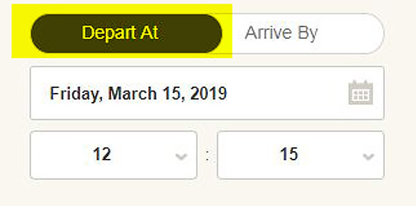 Screen cap: Choosing between your arrival or departure time