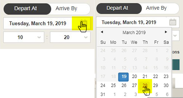 Screen cap: Using the calendar date picker