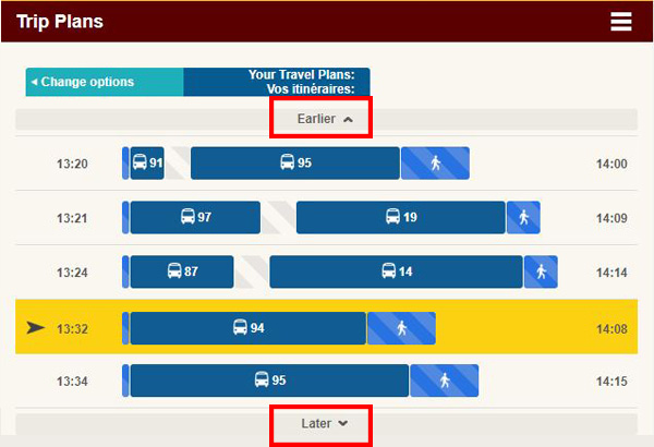 Screen cap: where to find the earlier and later trip options