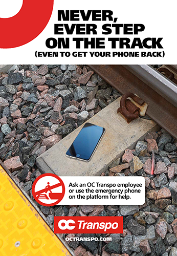 Never, ever step on the tracks - even to get your phone back.