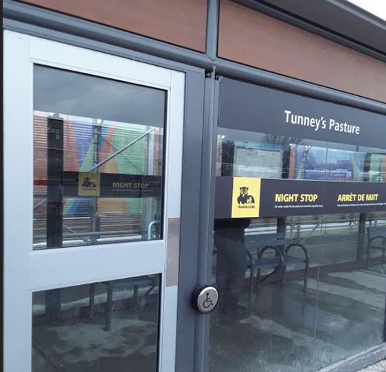 Photo of night stop decals at Tunney's Pasture Station, Stop C.