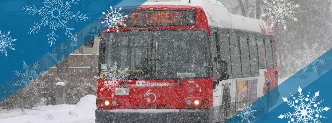 Bus driving down a snowy street overlaid with snowflake graphics.