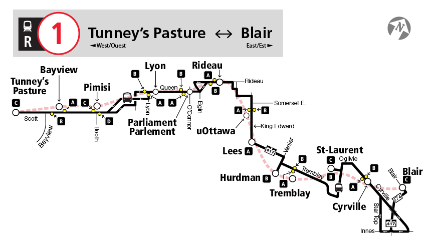 Map of full R1 replacement bus service