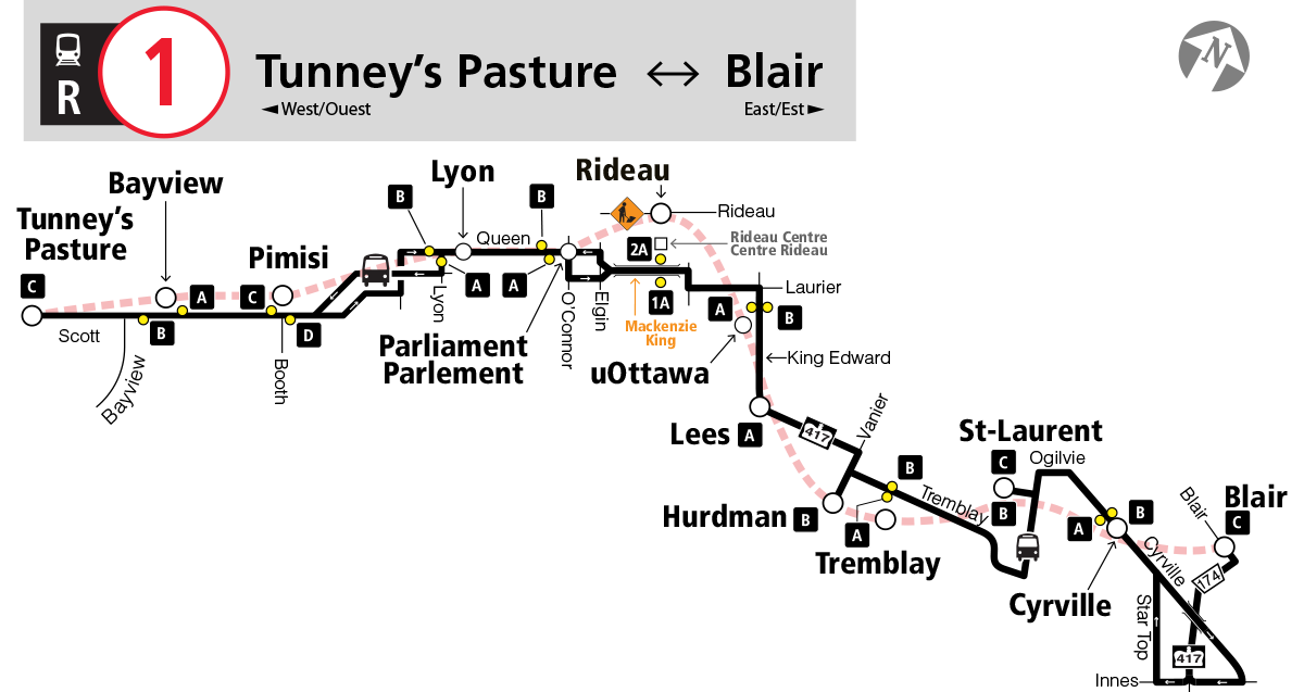 Map of R1 bus service.