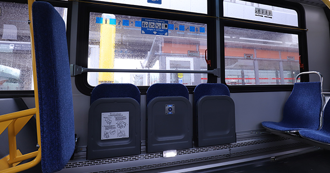 Assistive mobility device spaces on a bus