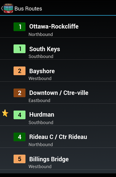 L'application BusBuddy Ottawa - Screenshot 3