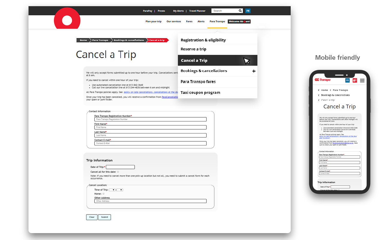 Screen cap showing where to find the Trip Cancellation form in the top navigation