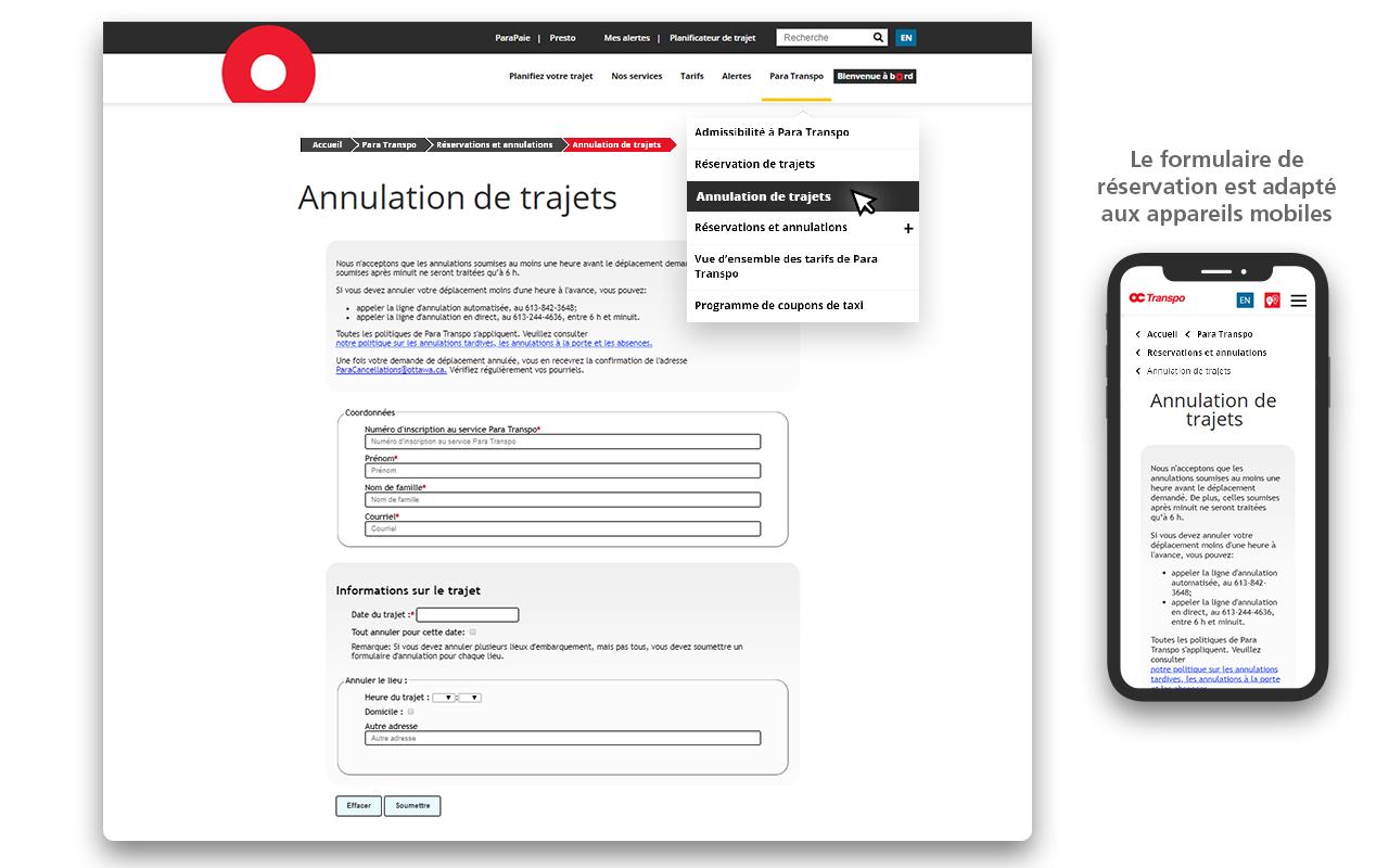 Saisie d'écran montrant où trouver le formulaire d'annulation dans la navigation.