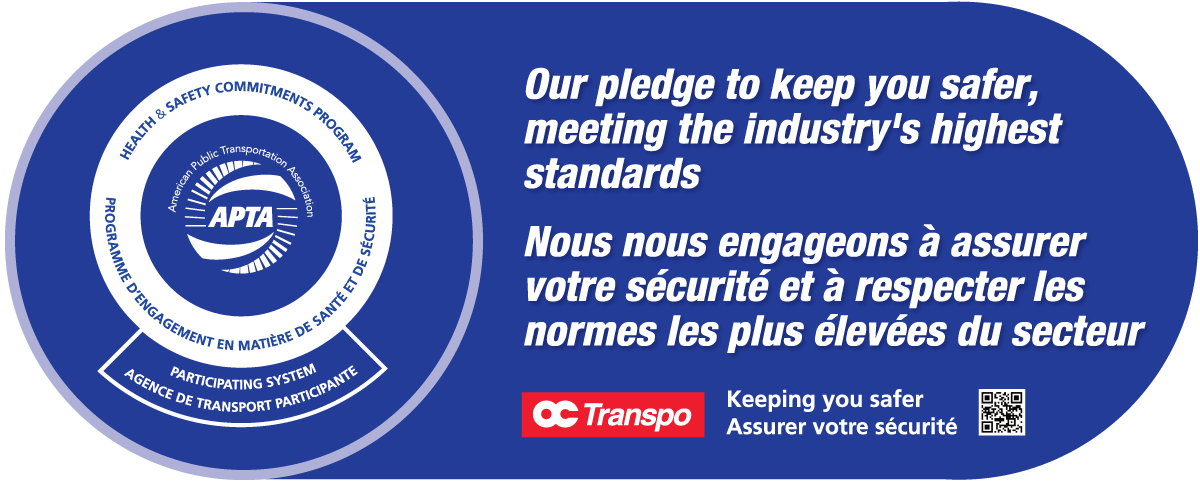Sign graphic with APTA's Health & Safety Commitments Program logo accompanied by the text: Our pledge to keep you safer, meeting the industries highest standards.