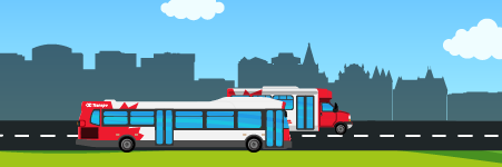 Illustration of a door-to-door transit trip. The second stage, on the bus or Para Transpo, is highlighted.