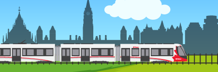 Illustration of a door-to-door transit trip. The fourth stage, on the train, is highlighted.