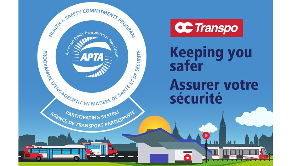 Sign of APTA's Health & Safety Commitments Program logo accompanied by the text: Keeping you safer.