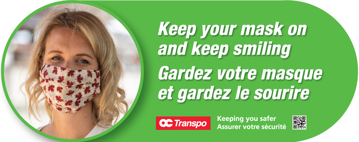 Sign graphic with photo of a masked customer accompanied by the text: Keep your mask on and keep smiling.