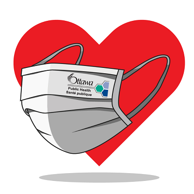 Heart wearing a mask with the Ottawa Public Health logo.
