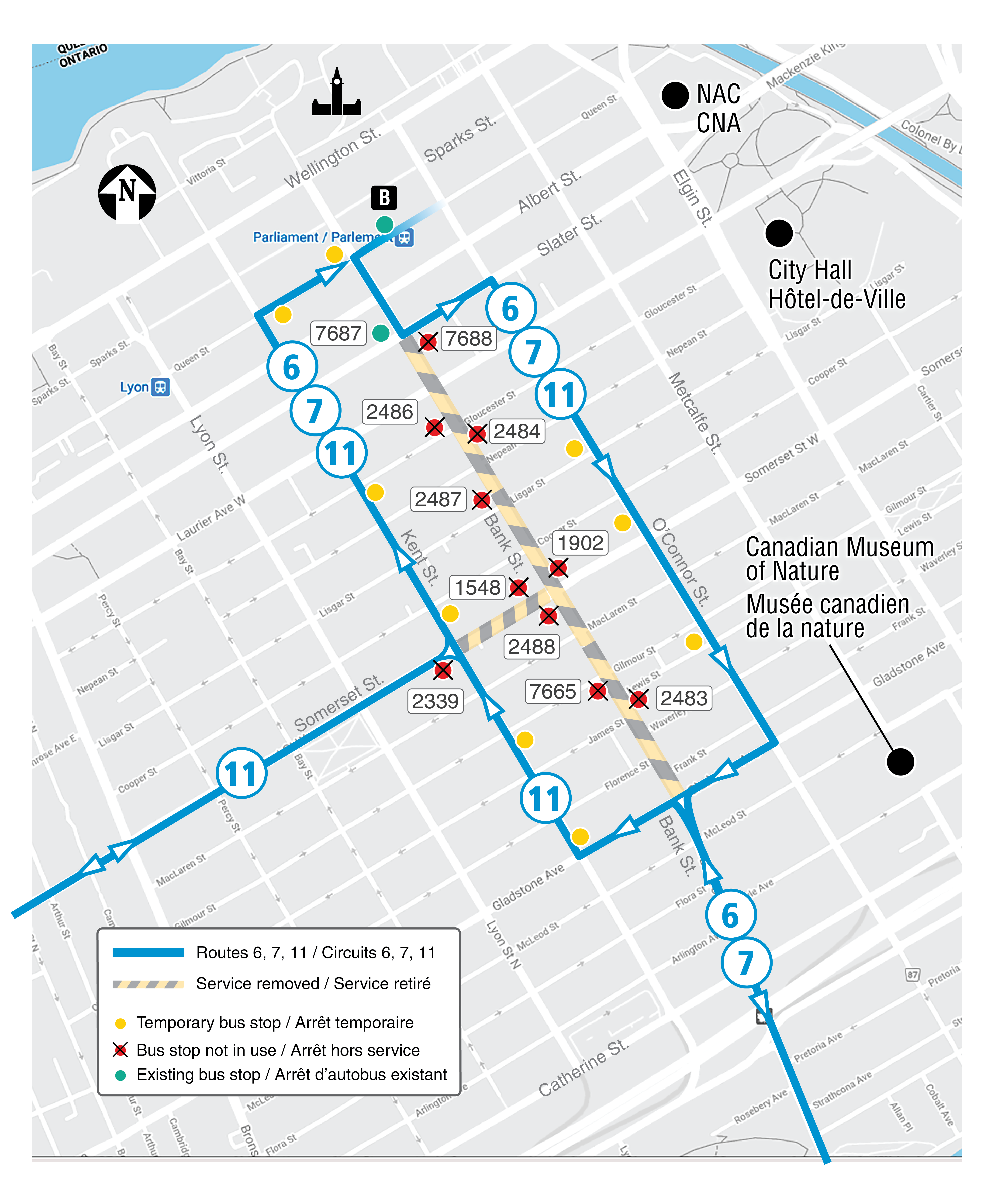 Map for Bank Street detour routing