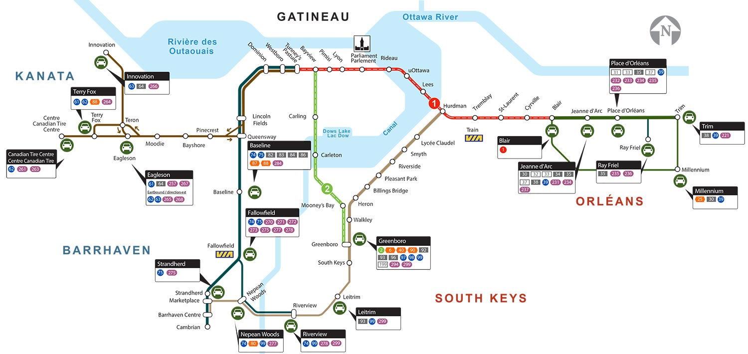 Park & Ride lot locations across Ottawa and rural areas