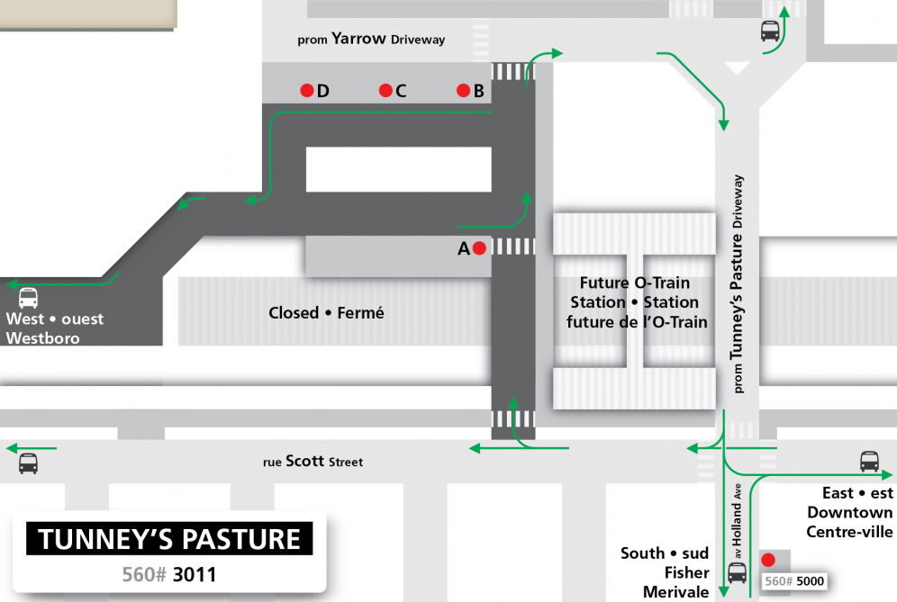 Tunney's Pasture station layout for On Track 2018 construction effective June 27