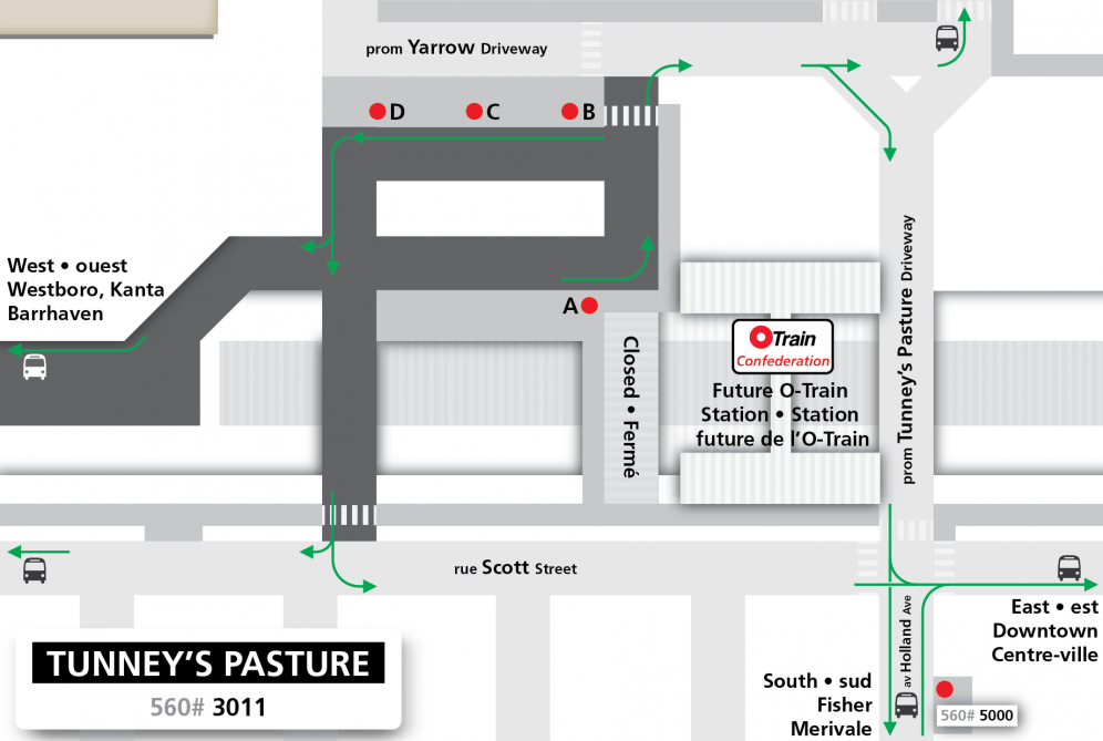 Tunney's Pasture Station layout effective August 14