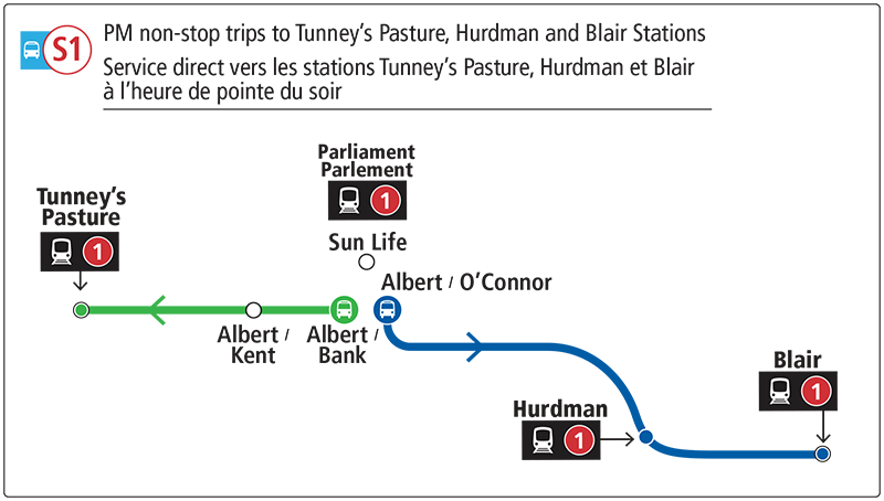 Map of supplemental buses departing from Albert St.