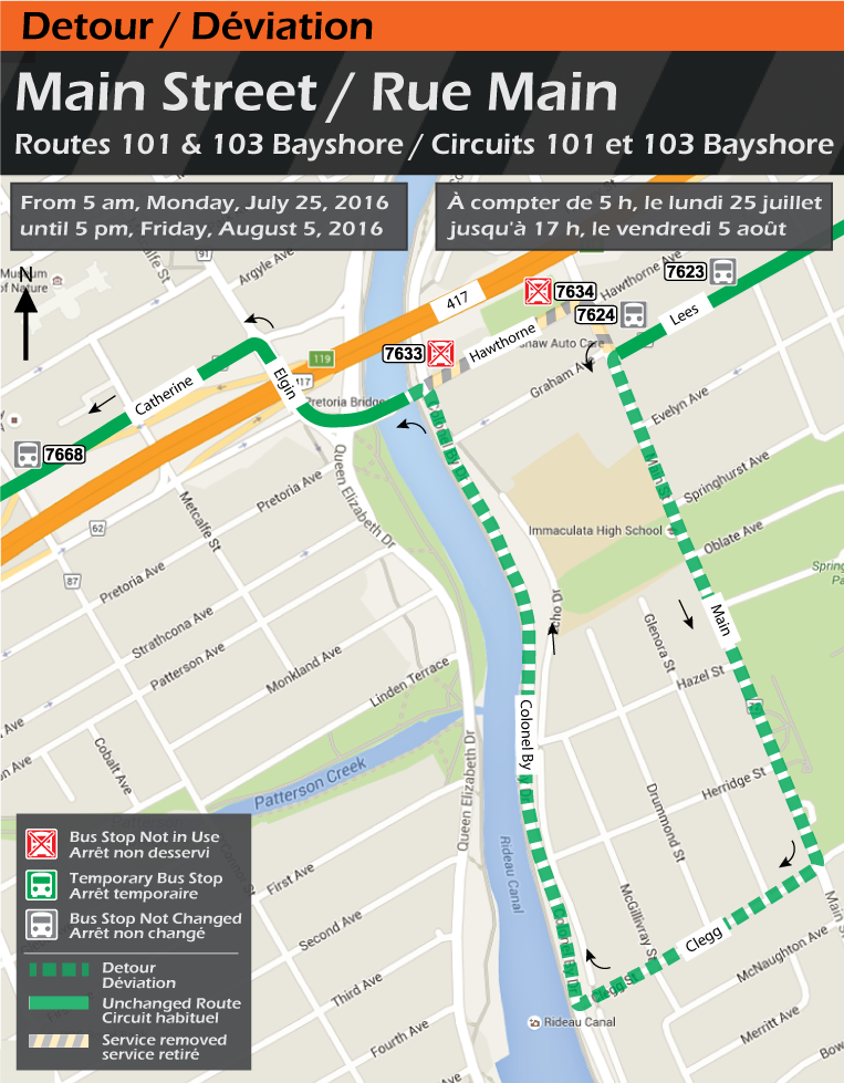 Map for Routes 101 and 103 Bayshore, Main Street Detour