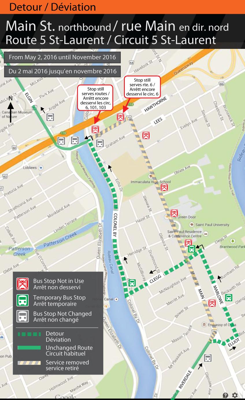 Map for Route 5 St-Laurent, Main St. Detour