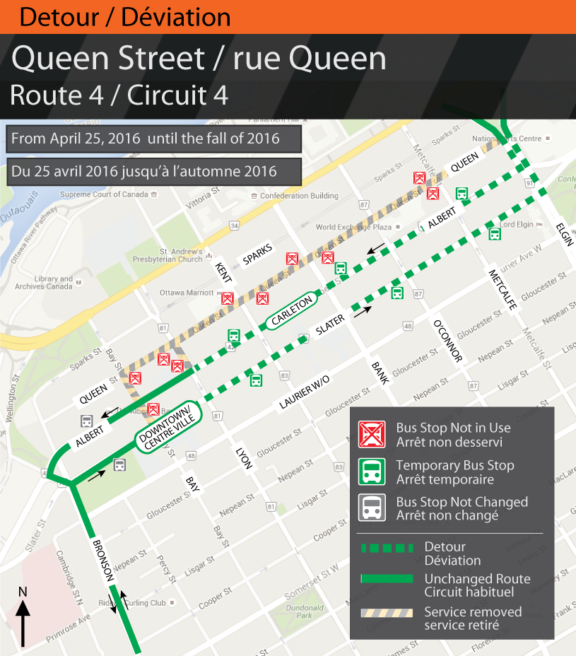 Map for Route 4, Queen St. Detour