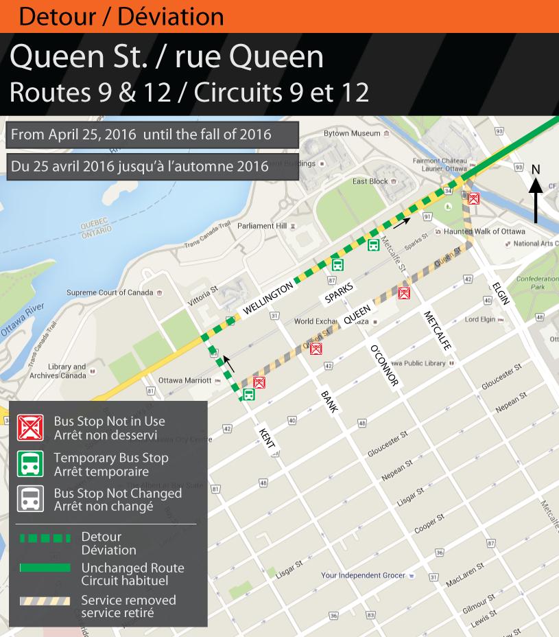 Map for Routes 9 & 12, Queen St. Detour