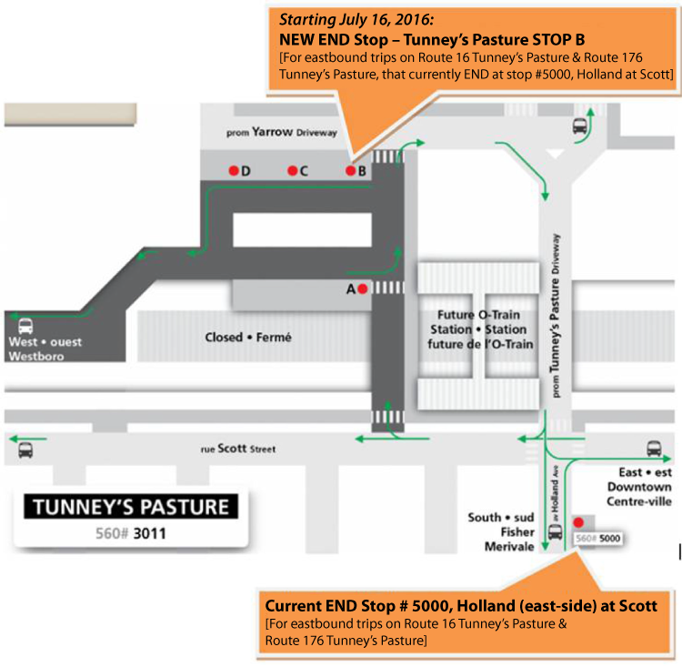Tunney's Pasture station layout for eastbound trips on routes 16,176 that end at Tunney's