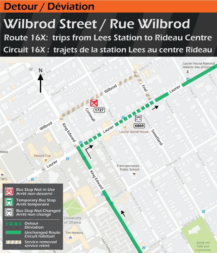Map for Route 16x, Wilbrod Street Detour