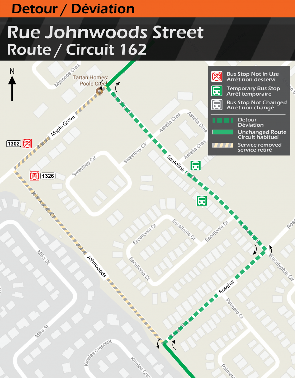 Map for Route 162, Johnwoods Detour